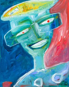 Christy Sverre Lady With Her Specs 16 x 20 Acrylic on Canvas