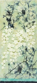 Tanya Kirouac Magnolia Dream Encaustic on Wood Framed under Glass 48 x 24 SOLD