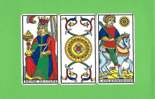 3 arcanes mineures du Tarot de Marseilles