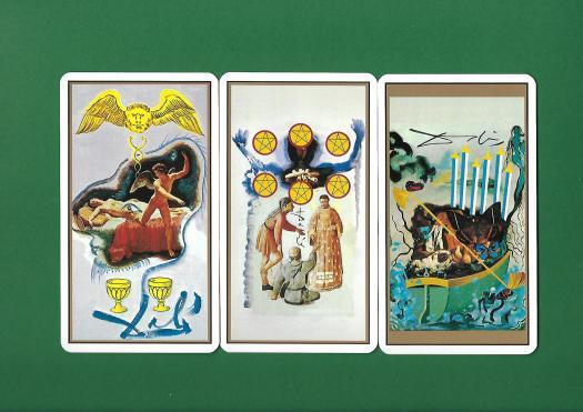 3 arcanes mineures du tarot de Dali
