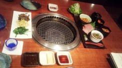 Grill built in the table