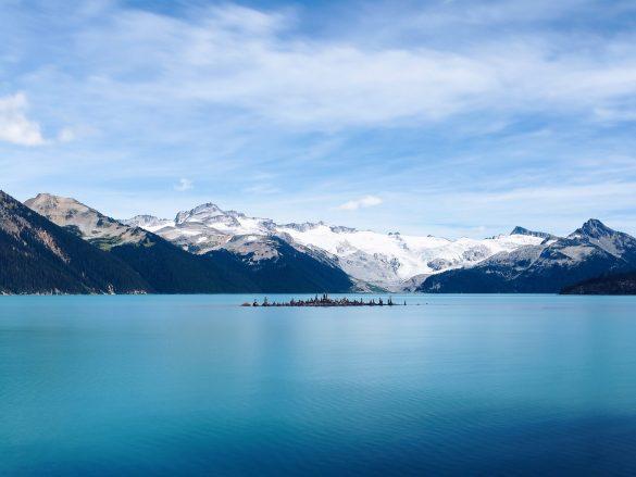 Island in blue lake