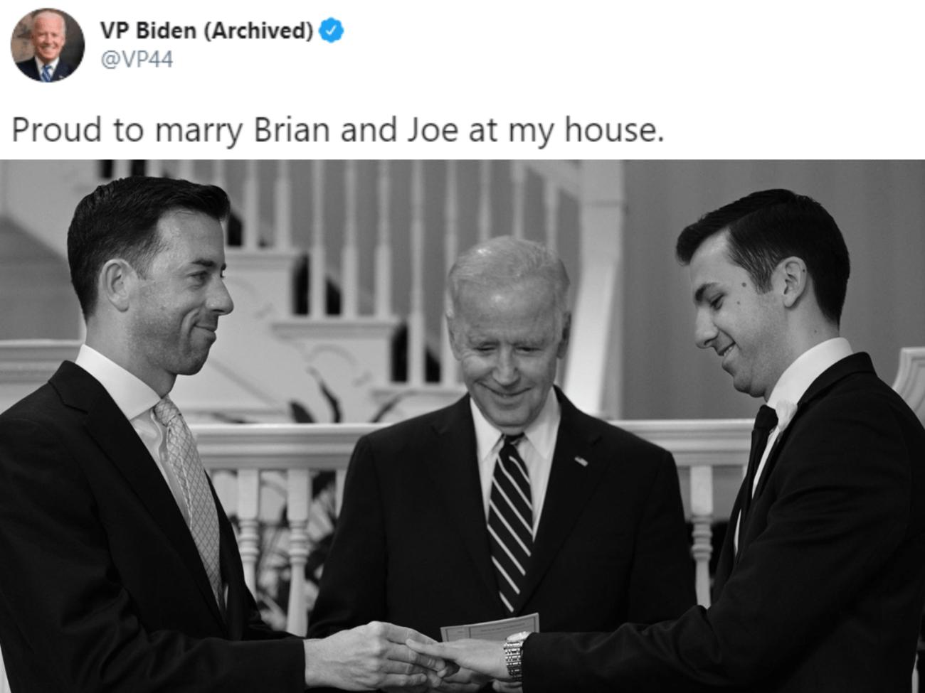Joe Biden proud to marry gay couple