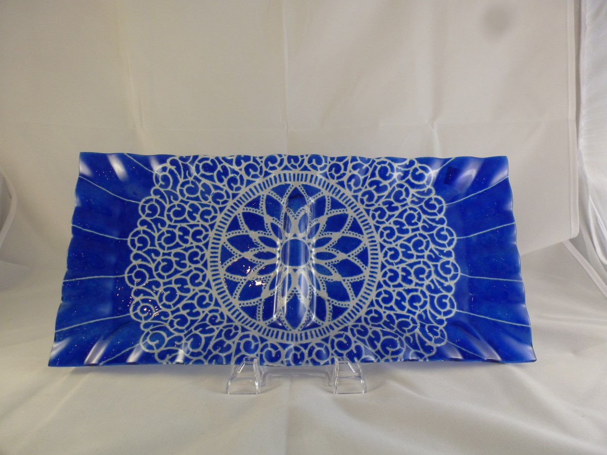 Cobalt Embassy Relish Tray