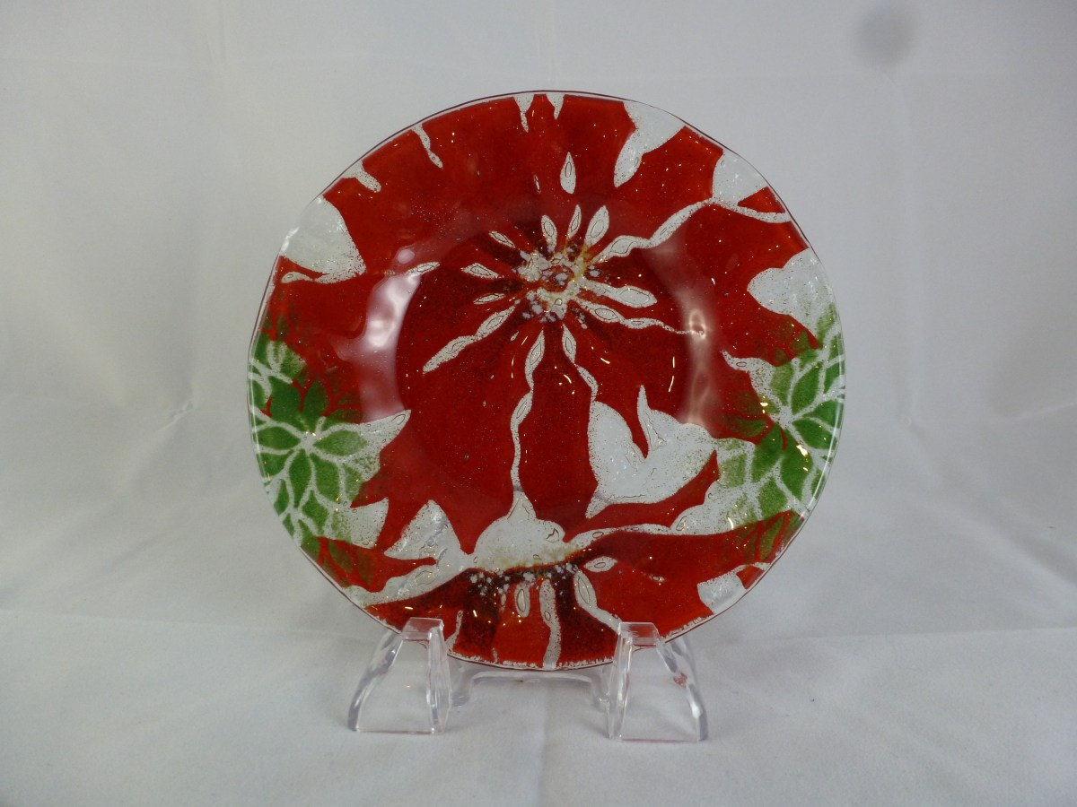 Poinsettia Bread and Butter Dish
