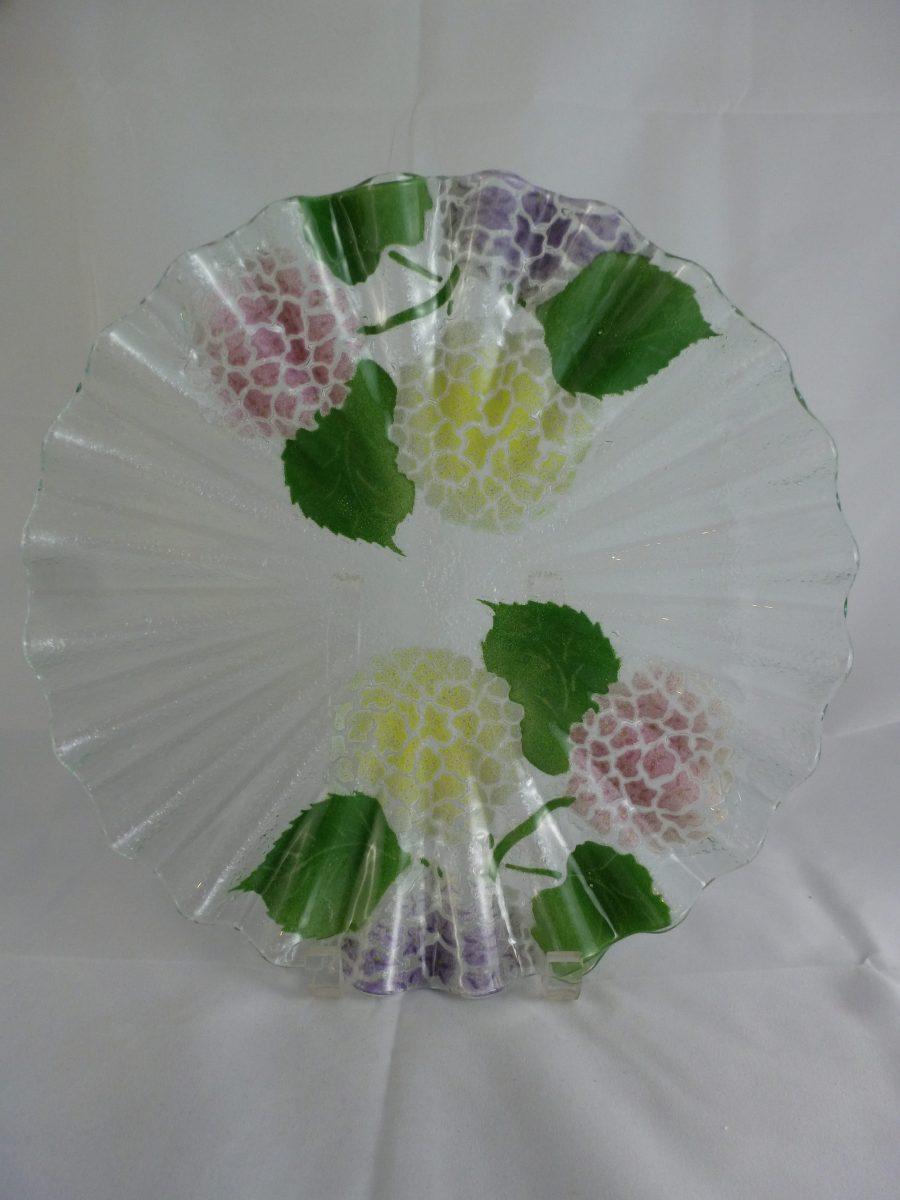 Multi Hydrangea Scallop Cake Plate