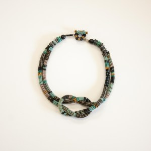 Square Knot Necklace - Teal