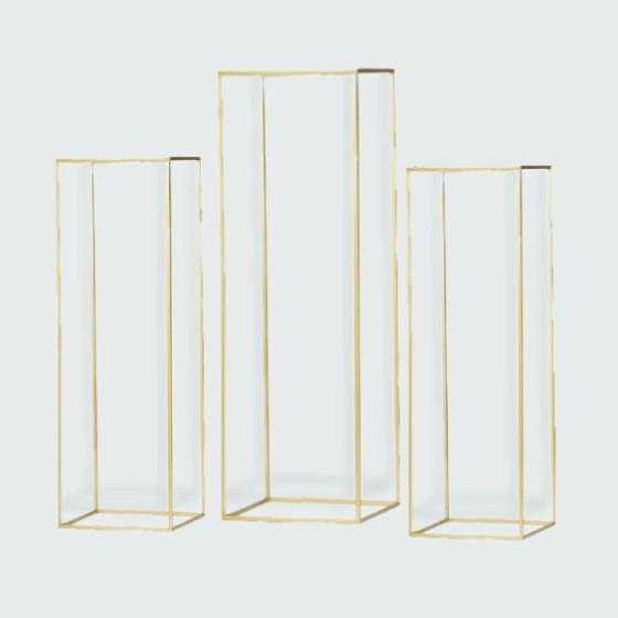 Set of 3 Mirror Gold Floor Stand