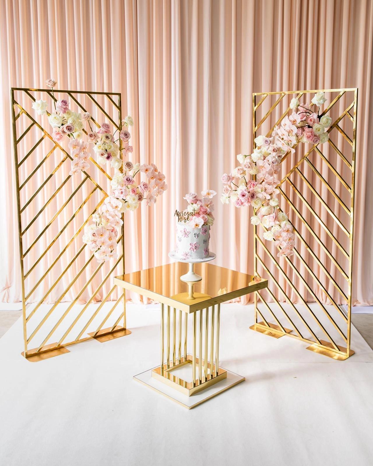 mirror gold geometric backdrop