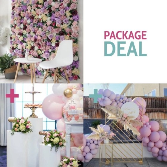 Package Deal Flower wall, plinths and backdrop