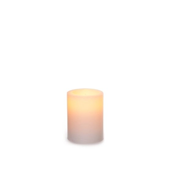 Wax LED Pillar Candle Round White (6.5cmH)
