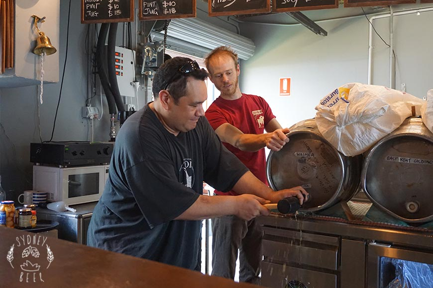 Sydney Craft Beer Week 2016 Staves Brewery cask beer New Zealand Waimea dry hopped firkin tapping