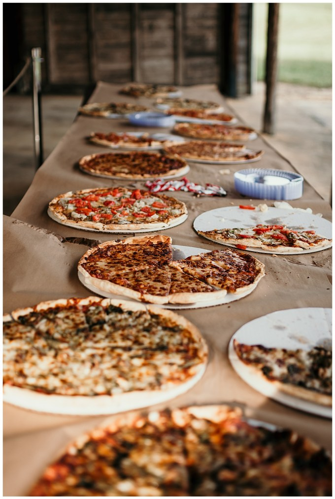 Pizza dinner at an NC wedding