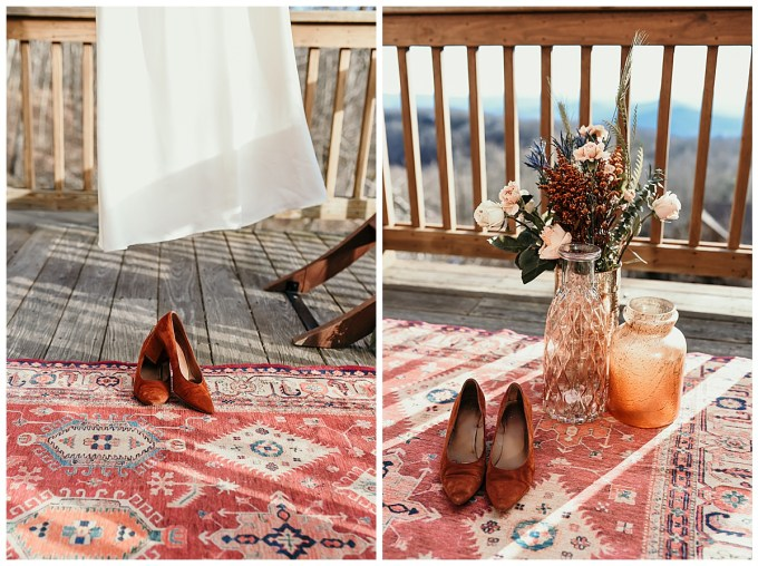 Mountain wedding details Madewell shoes and artisan rug