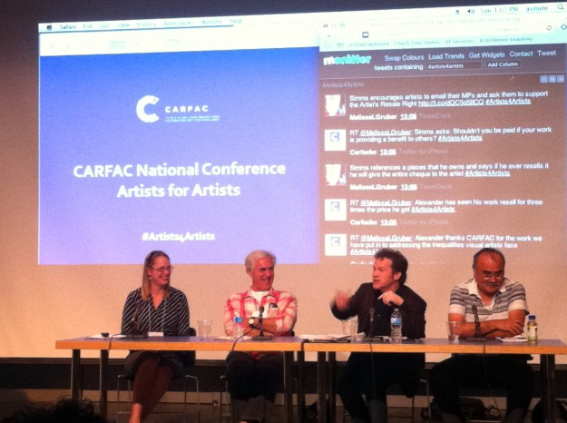 The Panel Discussion on the Artists' Resale Right - in full swing!  From the left: April Britski, Executive Director of CARFAC National, David Alexander, Artist,  Scott Simms, MP for Bonavista—Gander—Grand Falls—Windsor, and Lyle Wilson, Artist. Mr Simms introduced Bill C-516, an Act to amend the Copyright Act (Artist's Resale Right) to the House of Commons recently.