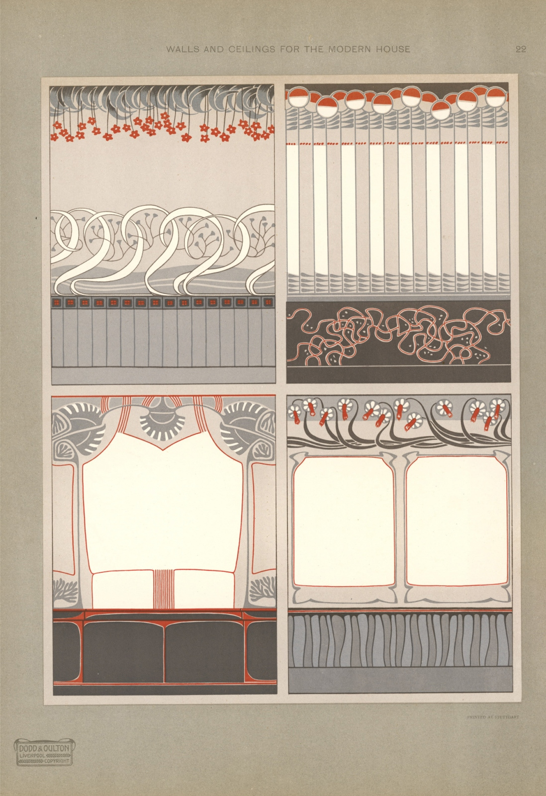1907 English Art Nouveau Wall and ceiling designs