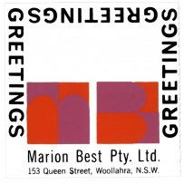 Marion Best Pty Ltd 'Greetings' cards on acetate sheet, 1960s-70s