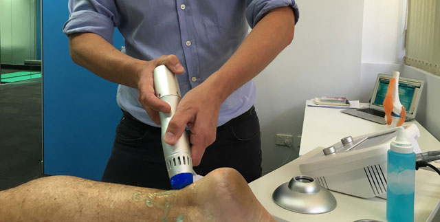 Shockwave therapy on ankle