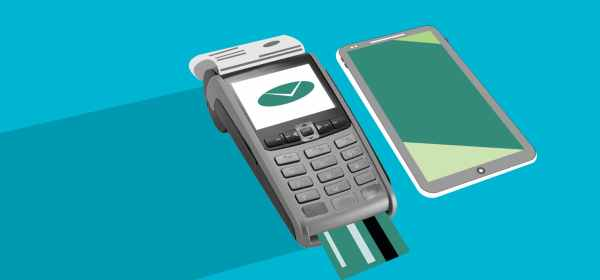cutout paper illustration of payment terminal with check and smartphone