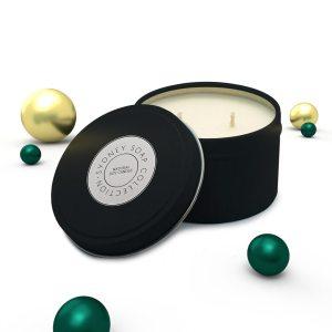 Christmas Candles Black Tin