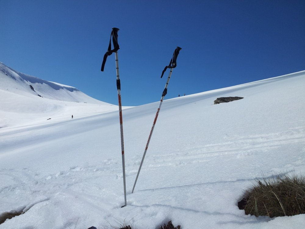 Ski Poles mark our lunch spot, Mt Kosi, Snowy Mountains
