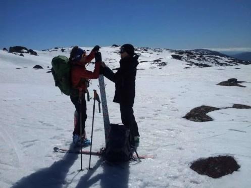 Applying skins to touring skis, Snowy Mountains