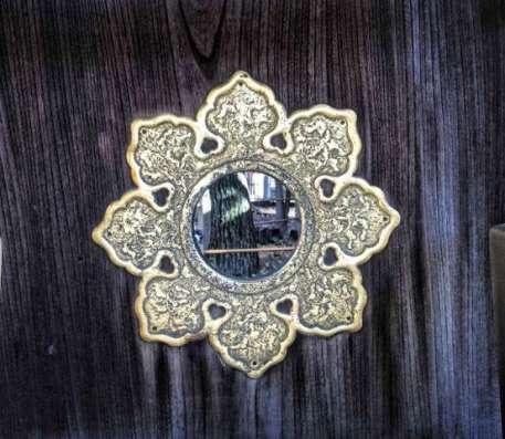 Mythic Yoga Journey™ to Japan: Torii gate with mirror at Sumiyoshi Taisha Shinto Shrine, Osaka, Japan
