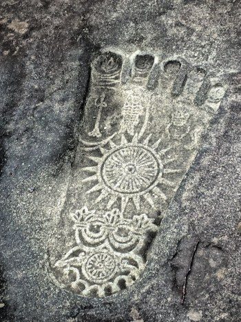 The Buddha's footprint, Buddhapada, Shitennoji Buddhist Temple, Osaka, Japan Mythic Yoga Journey