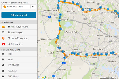 toll-road-calculator-map