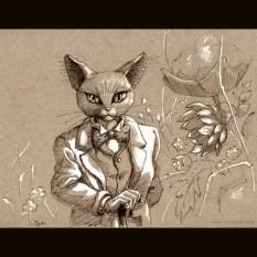 The Baron (Studio Ghibli tribute) - Ink on toned paper, 2014