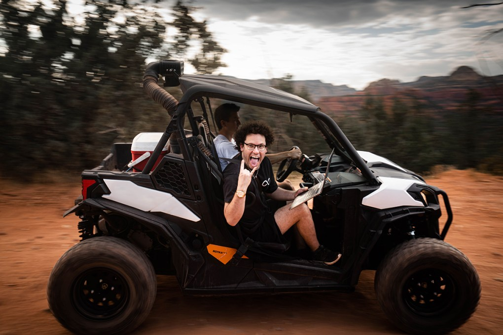 tim sykes in arizona riding on a jeep