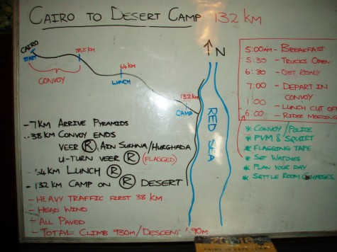Her en orientering om morgendagens etappe på 132 km.