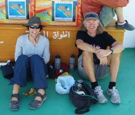 Hilde og jeg om bord paa baaten som gaar til Sudan!