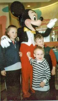 Meeting Mickey - this little boy is about to go to uni.