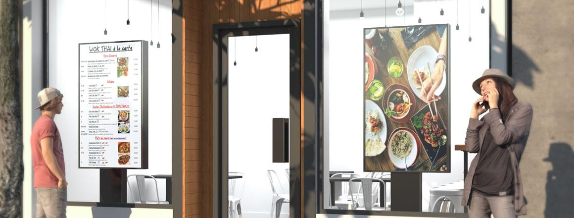 écran pour affichage dynamique, totem, digitalisation de point de vente