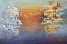 """""""Soleil Lune"""" huile 72 x 54 cm"""