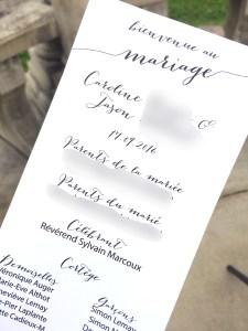 Programme de la cérémonie de mariage