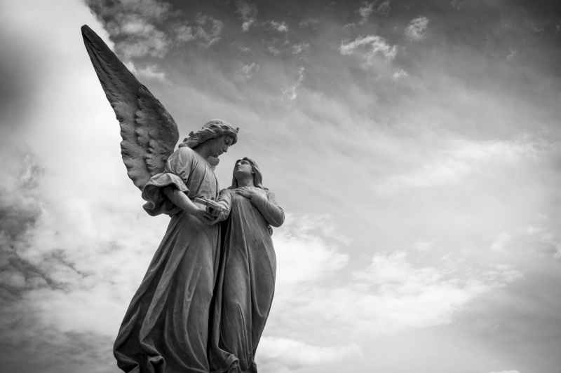 angel art black and white clouds