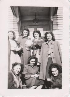Mom on the right (standing) with a group of her high school friends.
