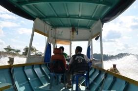 nasse Bootstour auf dem Mekong Fluss