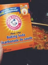 On saupoudre modérément avec du bicarbonate de soude.