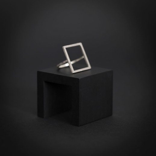 Mind The Gap square silver ring