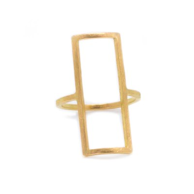 Mind The Gap rectangular gold ring