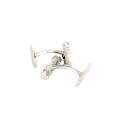 Boutons de manchette en argent collection Chronos White Silver