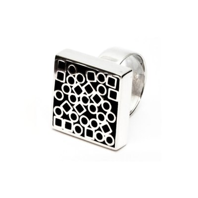 Tubular Square Line silver ring I