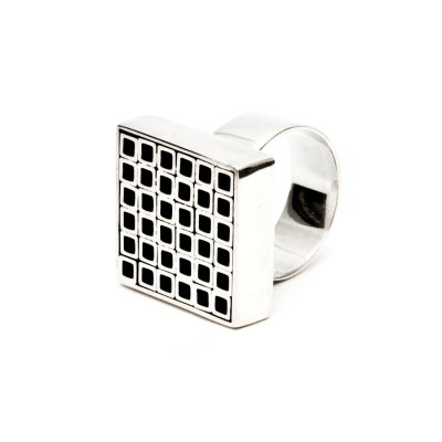 Tubular Square Line silver ring II