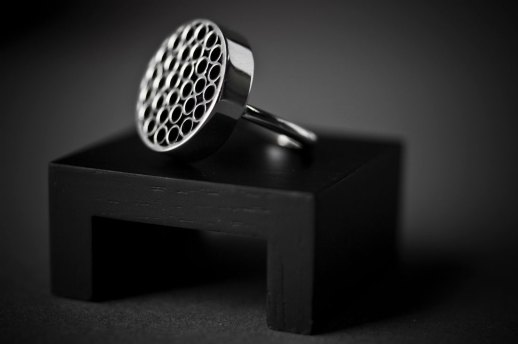 Bague en argent collection Tubular Round Line