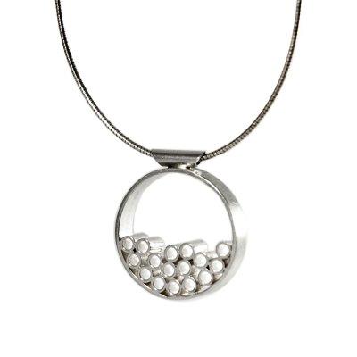 Tubular Round Line silver pendant