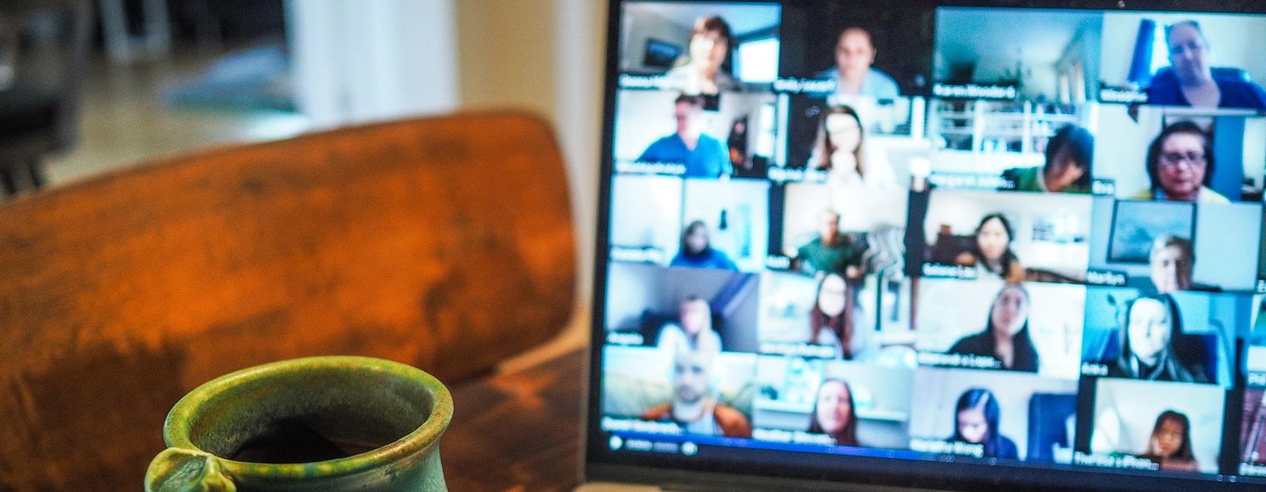 virtual team meeting on laptop