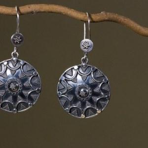 Boucles d'oreilles ethnique en argent 925 Taille : 5,5 cm
